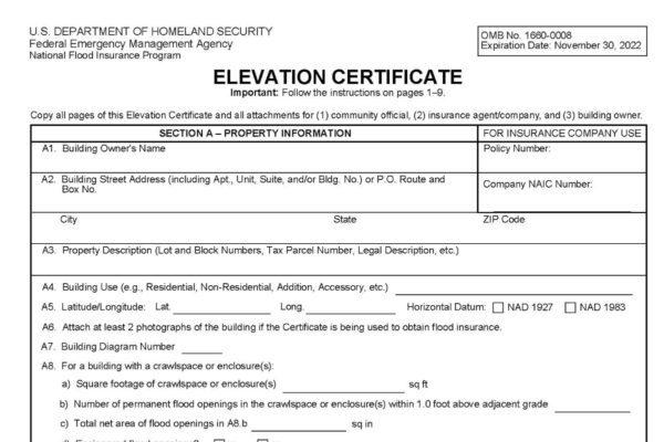 elevation flood certificates
